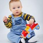 Boy with toy car